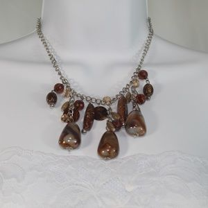 Stone Necklace With Silver Chain Varying Stones